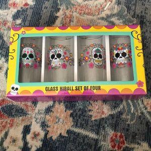 Sugar Skull Glass Highball Set
